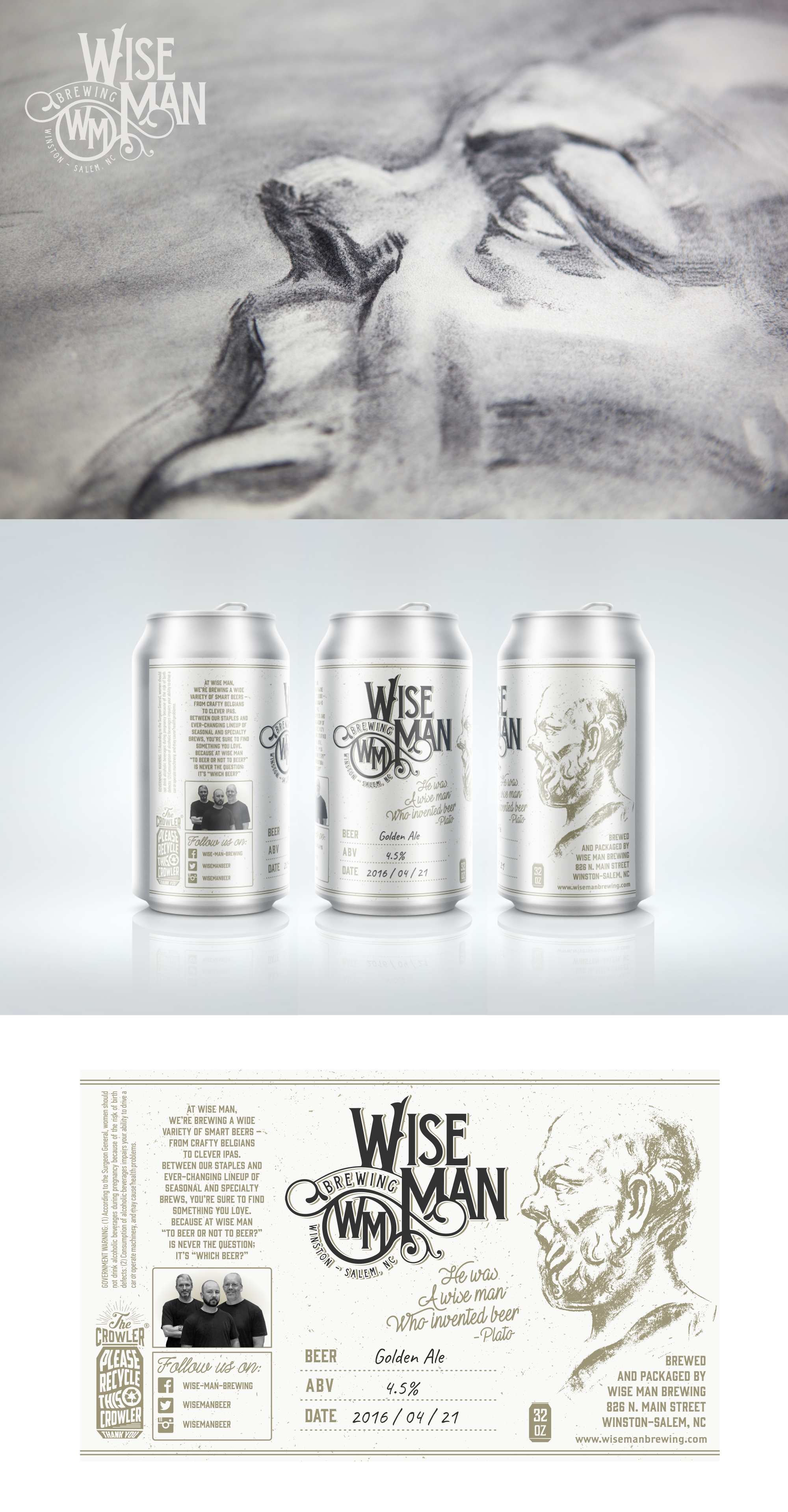 Can label design by Wooden Horse for Wise Man Brewing