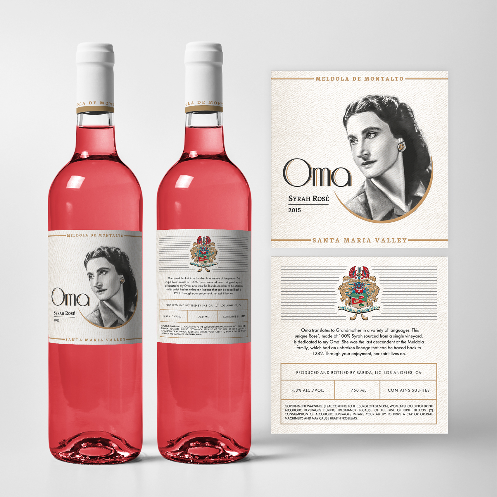 Wine bottle label by Anastasiia TolTol for OMA Wine