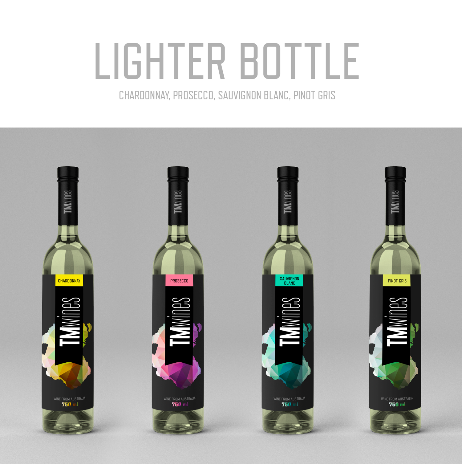 Drink packaging design by Javier Milla for TM Wines