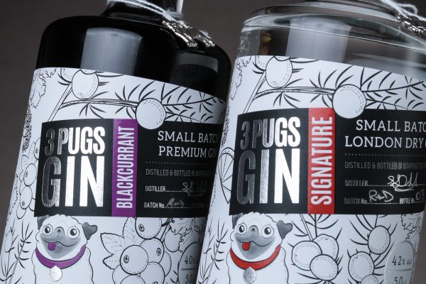 3 Pugs Gin Gets New Labels by The Label Makers